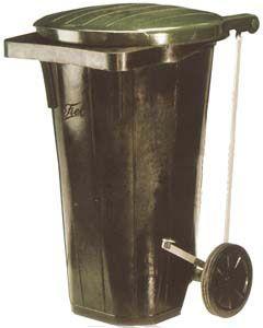 Cubo de goma de 90 litros con tapa cierre hermético y ruedas
