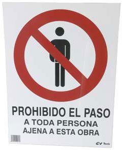 Señal de pvc prohibido el paso