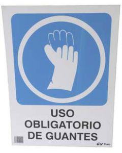 Señal de pvc obligatorio uso guantes