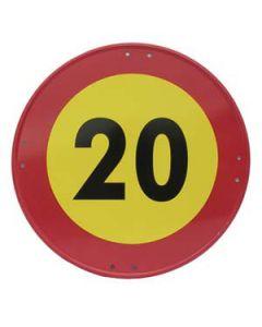 Señal metálica velocidad máxima de 20 km/h