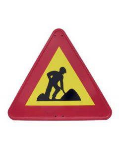 Señal metálica peligro obras